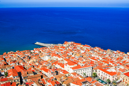 Cefalu, Sicily. Aerial medieval view of sicilian city Cefalu. Province of Palermo, Italy. Stock Photo
