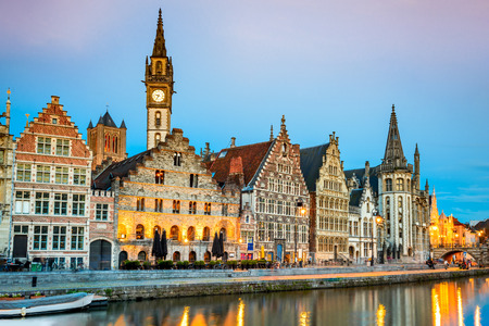 Gent, Belgium with Graslei district and Leie river at twilight illuminated moment in Flanders. Reklamní fotografie