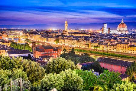 Florence, Tuscany - Night scenery with Duomo Santa Maria del Fiori and Palazzo Vecchio, Renaissance architecture in Italy. Stock Photo