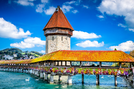 Lucerne, Switzerland - Famous wooden Chapel Bridge, oldest wooden covered bridge in Europe. Luzern, Lucerna in Swiss country. Reklamní fotografie