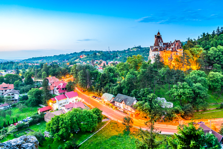 Bran Castle, Romania. Stunning HDR twilight image of Dracula fortress in Transylvania, medieval landmark. Editorial