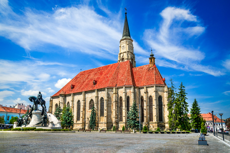 Cluj, Romania. Medieval St. Michaels Church and Union Square in Cluj-Napoca, Transylvania. Stock Photo