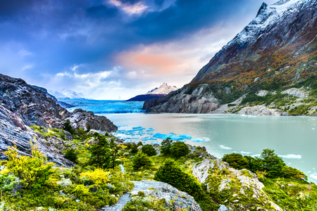 Patagonia, Chile - Grey Glacier is a glacier in the Southern Patagonian Ice Field on Cordillera del Paine Stock Photo
