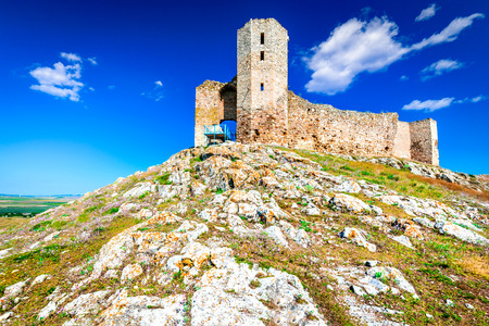 Enisala Fortress, Dobruja, Romania. Ruins of medieval stronghold over the Razelm Lake, Tulcea. Stock Photo
