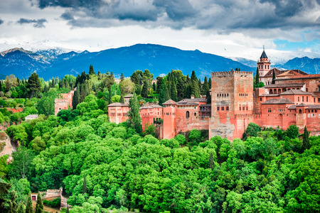 Granada, Spain. Famous Alhambra, Nasrid Emirate fortress, European travel landmark in Andalusia.