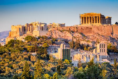 Athens, Greece. Acropolis, ancient ruins of Greek Civilization citadel with Parthenon temple.