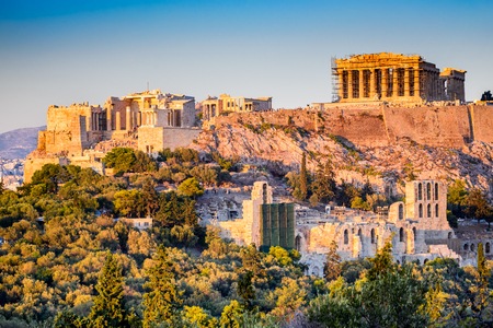 Athens, Greece. Acropolis, ancient ruins of Greek Civilization citadel with Parthenon temple.