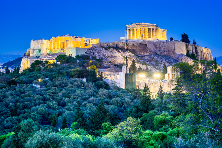 Athens, Greece - Night view of Acropolis, ancient citadel of Greek Civilization. Stok Fotoğraf