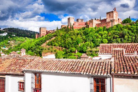 Granada, Spain. Famous Alhambra, Nasrid Emirate fortress of Alcazaba, Andalusia province. Stock Photo