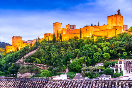 Granada, Spain. Twilight with famous Alhambra, Alcazaba. Andalusia medieval province.