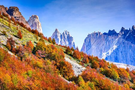 Patagonia, Chile - Torres del Paine (2850 m) and Monte Almirante Nieto (2640 m). Cordillera Paine, Magelanes Regioon, South America.