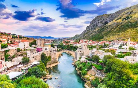 Mostar, Bosnia and Herzegovina. The Old Bridge, Stari Most, with emerald river Neretva. Stock Photo