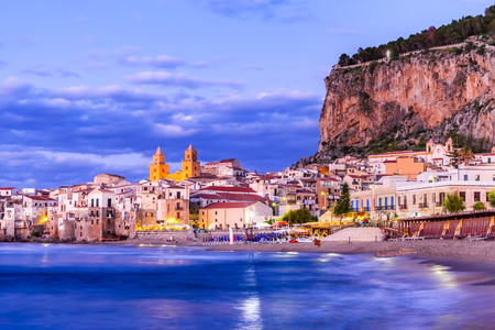 Cefalu, Sicily. Ligurian Sea and medieval sicilian city Cefalu. Province of Palermo, Italy. Stock Photo