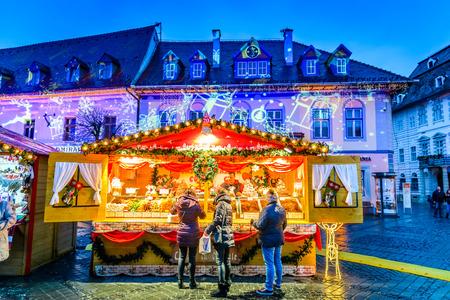 SIBIU, ROMANIA - 18 NOVEMBER 2017: Sibiu Christmas Market, largest in Romania, Transylvania landmark. Editorial