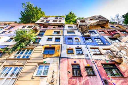 VIENNA, AUSTRIA - 2ND AUGUST 2015: A view of the outside of buildings in Hundertwasserhaus, expressionist landmark in Vienna during the day.