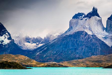 Torres del Paine, Chile. Autumn austral landscape in Patagonia with Lago Pehoe and Cuernos del Paine in South America.