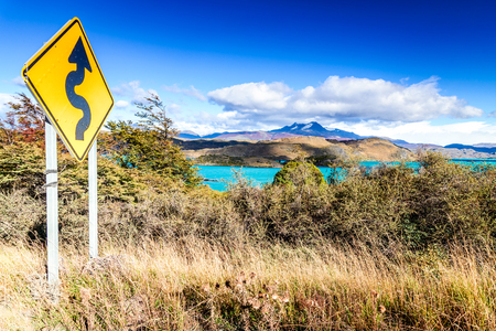 Torres del Paine, Chile. Autumn austral landscape in Patagonia with Lago el Toro in South America.