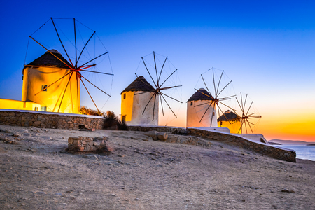 Mykonos, Greece. Kato Mili are iconic windmill of the Greek island of the Mikonos, Cyclades Islands. 免版税图像 - 95995382