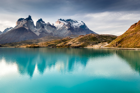 Patagonia, Chile - Torres del Paine, Laho Pehoe in the Southern Patagonian Ice Field, Magellanes Region of South America Banco de Imagens - 95995511
