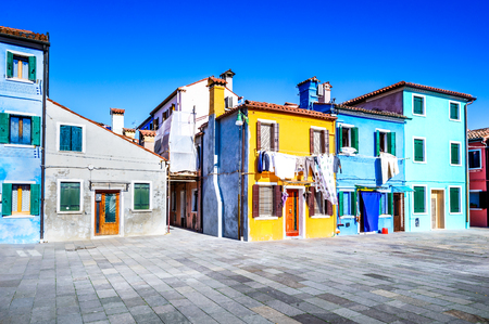 Burano, Venice. Image with colorful island from beautiful Veneto in Italy.
