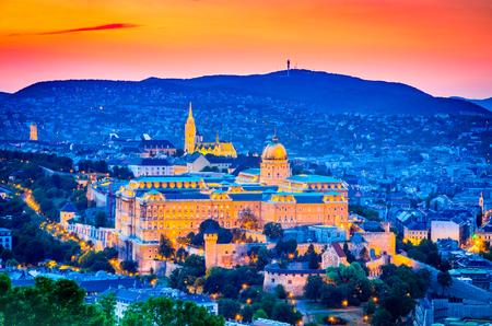 Budapest, Hungary. Buda Castle, seen from Gellert Hill in Magyar capital city.
