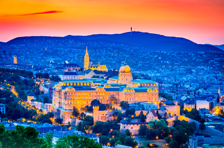 Budapest, Hungary. Buda Castle, seen from Gellert Hill in Magyar capital city.