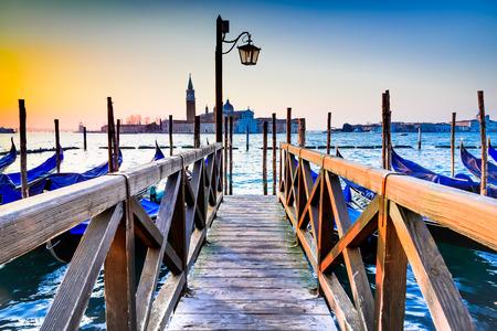 Venice, Italy. Sunrise with Gondolas on Grand Canal, Piazza San Marco, Adriatic Sea. Archivio Fotografico