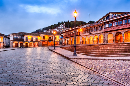 Cusco, Peru - Plaza de Armas, colonial spanish architecture in Andes Mountains, South America.