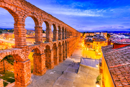 Segovia, Spain. Roman Aqueduct, from 1st century AD of Roman Empire, Castilla y Leon.