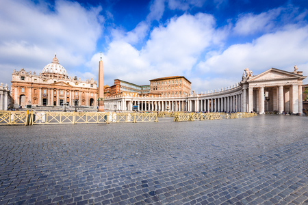 Rome, Italy. Saint Peter Basilica, Vatican, main religious Catholic Church, Holy See and Pope residence. Stock Photo