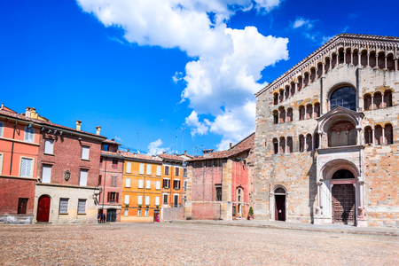 Parma, Italy - Piazza del Duomo with the Cathedral built in 1059, Emilia-Romagna. Stock Photo