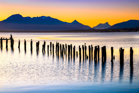 Puerto Natales, Chile - Gulf Almirante Montt, the Pacific Ocean waters in Chielan Patagonia, Magallanes Region. Reklamní fotografie