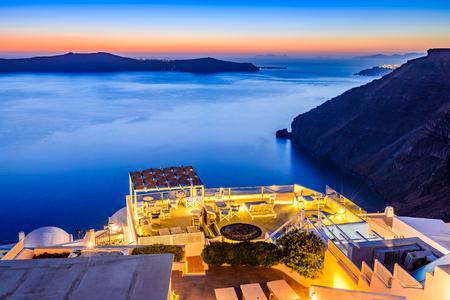 Santorini, Greece. Firostefani twilight, old village in Thira island, Cyclades and Mediterranean Sea. Reklamní fotografie