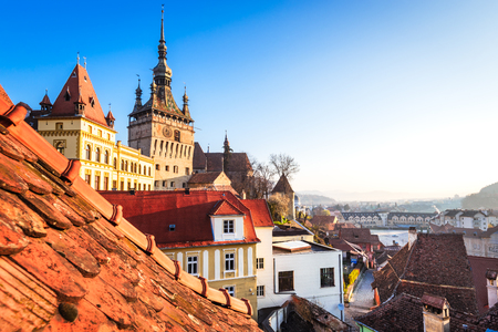 Sighisoara, Transylvania, Romania with famous medieval fortified city built by Saxons.