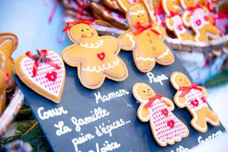 Strasbourg, France - December 2017: Marche de Noel gingerbread decorations in Strasbourg, Christmas Market in Alsace.
