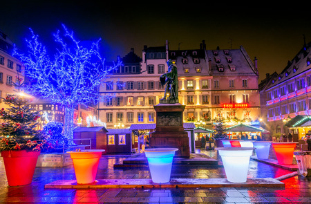 Strasbourg, France - December 2017. Place Gutenberg Christmas market in Capitale de Noel, Alsace.