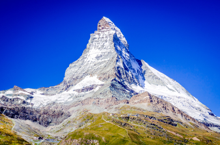 Zermatt, Switzerland. East and north faces of the Matterhorn summertime in Swiss Pennine Alps.