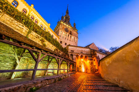 Sighisoara, Transylvania, The Clock Tower and famous medieval fortified city built by Saxons in Romania.