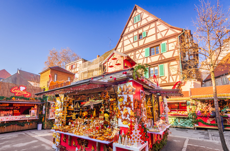 Colmar, France - 5 December 2017: Christmas Fair with gingerbread houses in Alsace famous place in Europe.