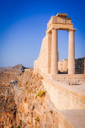 Rhodes, Greece. Lindos small whitewashed village and the Acropolis, scenery of Rhodos Island at Aegean Sea. Reklamní fotografie