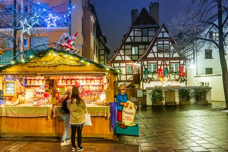 Strasbourg, France - December 2017. Place des Meuniers, Christmas market in Capitale de Noel, Alsace.