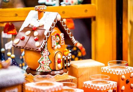 Strasbourg, France. Marche de Noel gingerbread decorations in Strasbourg, Christmas Market in Alsace.