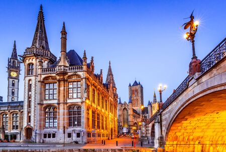 Gent, Belgium. The historic center of Ghent (Gand), embankment Graslei at night. Former center of the medieval harbor in Flanders. Stok Fotoğraf