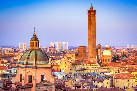 Bologna, Italy - Skyline of medieval Two Towers (Due Torri), Asinelli and Garisenda.