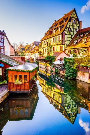 Colmar, Alsace, France. Gingerbread houses at Petite Venise. Christmas decoration of local craftsmen, famous in Europe. Stock Photo
