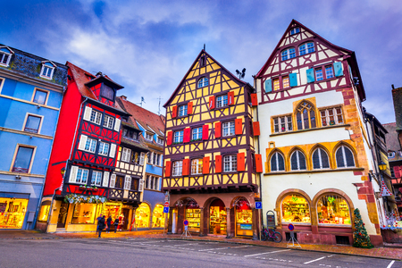Colmar, France. Traditional Alsatian half-timbered houses Christmas decorated city in Alsace. Redakční