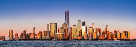 New York. Stunning view of lower Manhattan Skyline from New Jersey, United States of America.