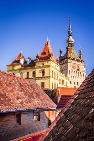 Sighisoara, Romania - Twilight scenery with medieval downtown, Transylvania.