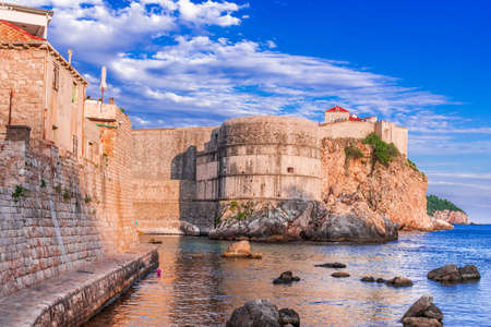 Dubrovnik, Croatia. Stunning view of Ragusa city walls, the famous Unesco world heritage site in Croatia. 新闻类图片