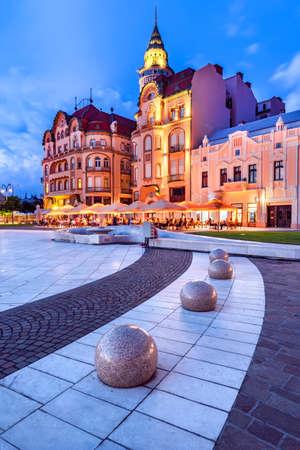 Oradea, Romania with Union Square and Black Eagle, western Transylvania.